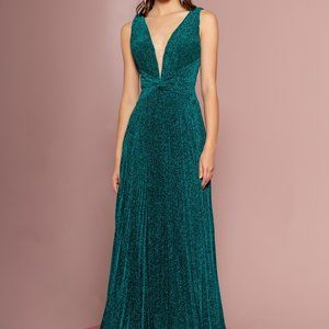 Illusion V-Neck Pleated Evening Dress GSGL2687